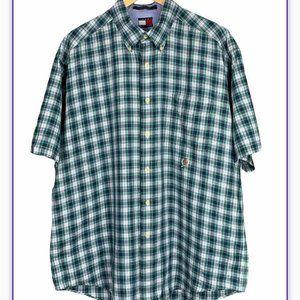Tommy Hilfiger Plaid Blue Green Button Down Shirt